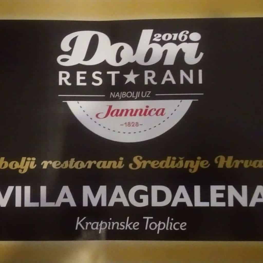Dobri restorani 2016 - Restoran Villa Magdalena, Krapinske Toplice
