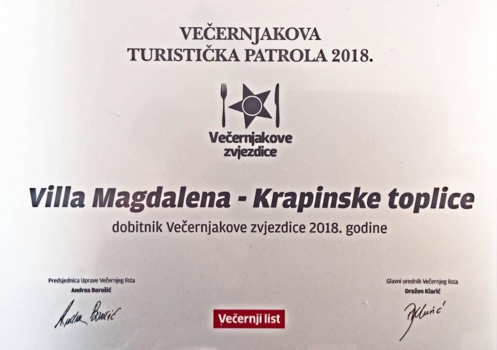 Villa Magdalena, dobitnik Večernjakove zvjezdice 2018.