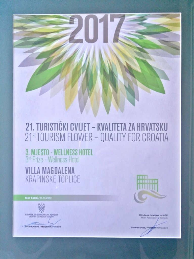 Nagrada Turistički cvijet 2017 - 3. wellness hotel - Hotel Villa Magdalena, Krapinske Toplice